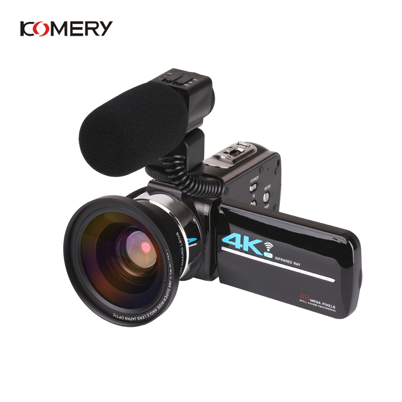 KOMERY Nieuwkomers 4K 48MP Video Camera 3.0 In HD Touch Screen/Nachtzicht/Wifi Externe Microfoon /Flash/Hdmi uitgang/Infrarood