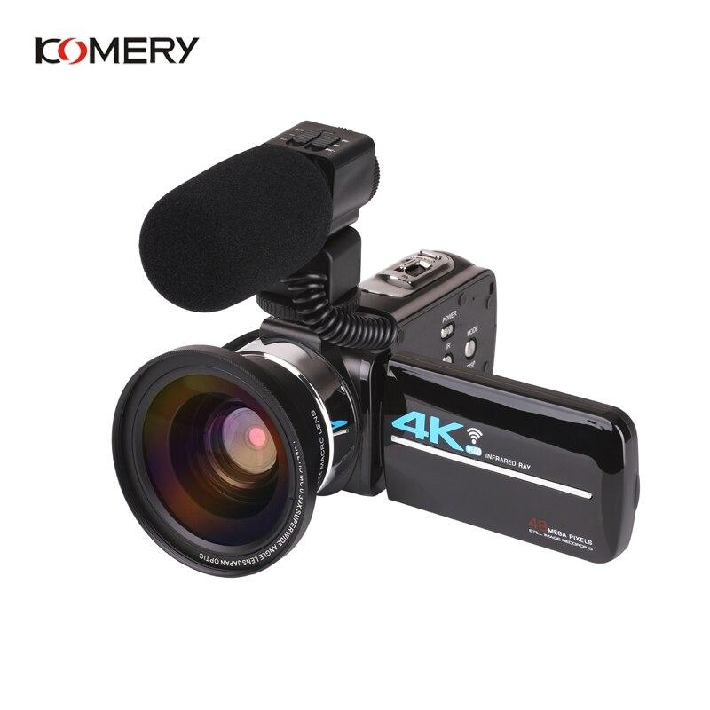 KOMERY Nuovi Arrivi 4K 48MP Video Macchina Fotografica di 3.0 In HD Dello Schermo di Tocco/Visione Notturna/Wifi Microfono Esterno /Flash/Uscita HDMI/A Raggi Infrarossi