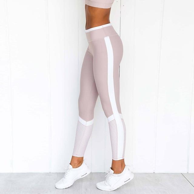 1 Set Women Pink Solid Stripe Pink Workout Set Push up Leggings Workout Fitness Active Pants Girls Sports Suit Short Print 3