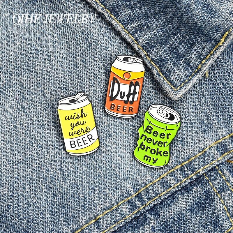 QIHE ювелирные изделия пива штырь отворотом сломался мое сердце эмали штырь триколор в стиле «хип-хоп» пивная банка значки вечерние броши