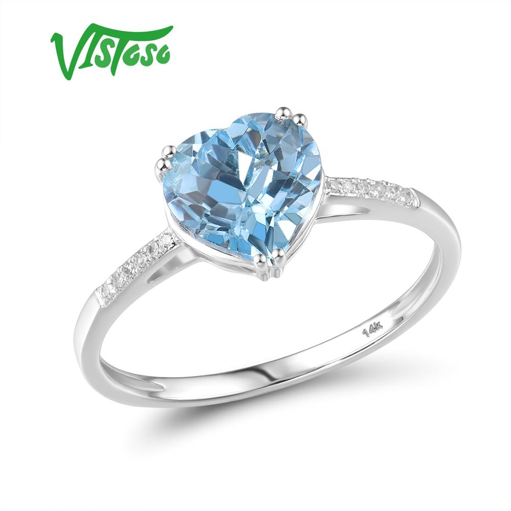 VISTOSO Pure14K 585 White Gold Ring For Women Sparkling Diamond Limpid Sky Blue Topaz Anniversary Classic Fine Jewelry