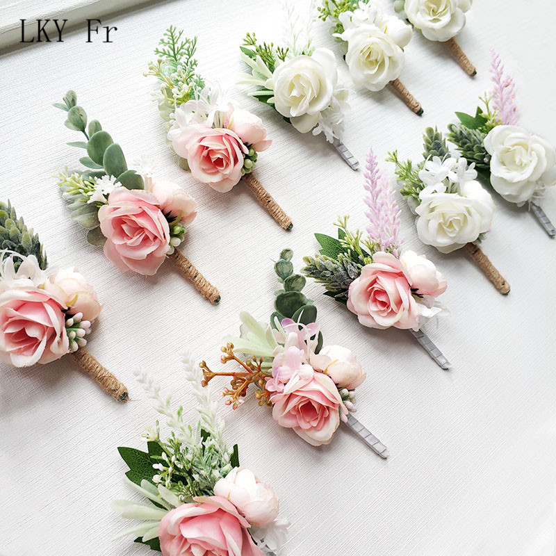 LKY Fr Boutonniere Flowers Wedding Corsage Pins White Pink Groom Boutonniere Buttonhole Men Wedding Witness Marriage Accessories