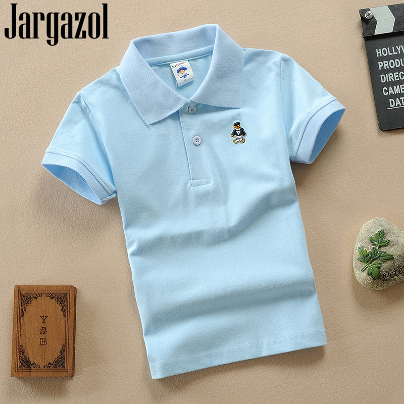 Jargazol Kids Solid Polo Shirt Summer Short Sleeve Tops Baby Boy Sports Polo Shirts Children Outfits Cartoon Embroidery Costume