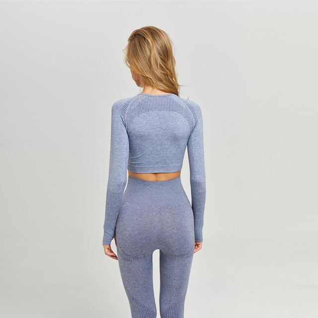 Women Seamless Yoga Set Fitness Sports Suits Gym Clothing Long Sleeve Crop Top Shirts High Waist Running Leggings Workout Pants 5