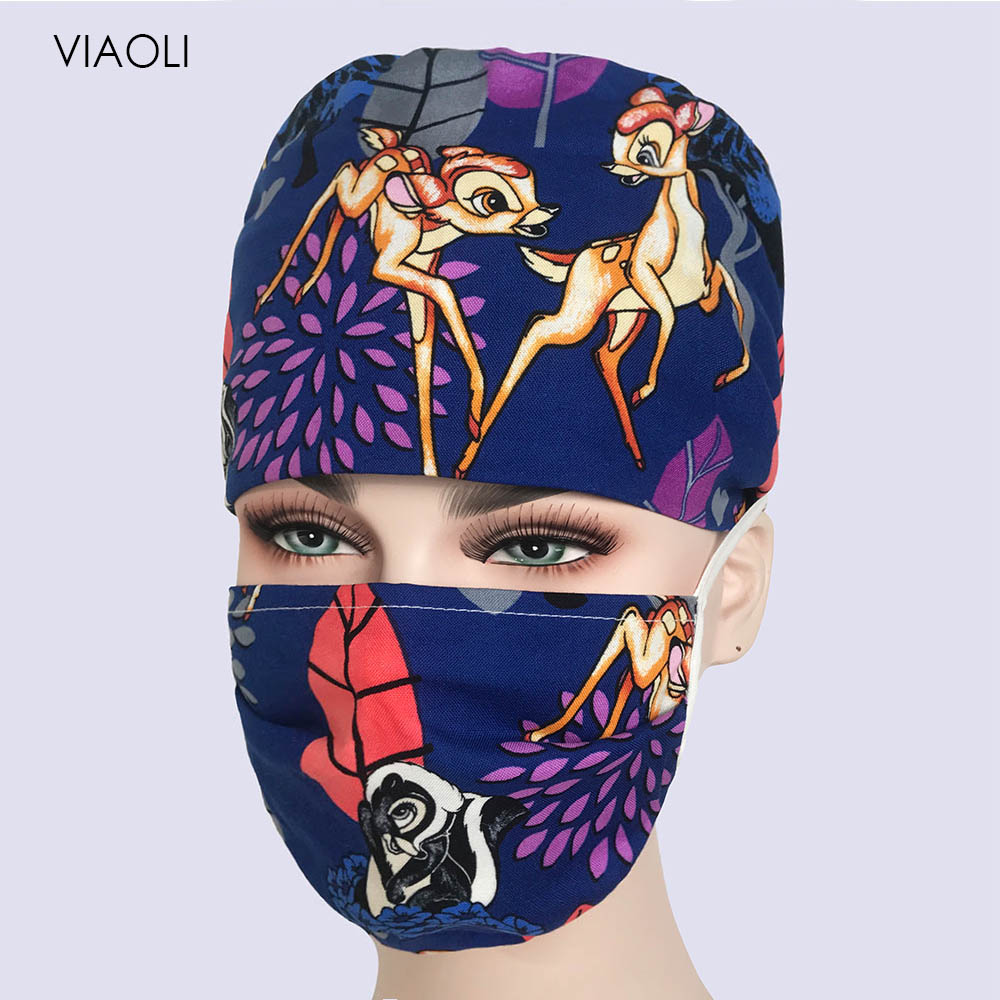 Viaoli Wholesale New Dentist Surgical Caps Cotton Scrub Caps For Women And Men Hospital Medical Hats Printing Dentist Cap Mask