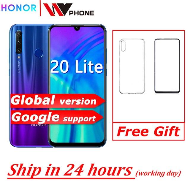 global version honor 20 lite Mobile Phone 6.21 inch  Android 9.0 FM Face Fingerprint Unlock   Smartphone