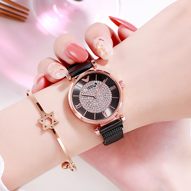 Women Watches 2019 Luxury Diamond Rose Gold Ladies Wrist Watches Magnetic Women Bracelet Watch For Female Clock Relogio Feminino 5