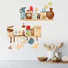 Pegatina para pared con patrón para decoración del hogar, papel tapiz para restaurante, estante de cocina, Mural extraíble, creativo, suministros de cocina