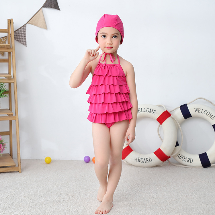 Girl'S One-piece Swimming Suit Rose Red Layers Camisole Hooded-Children Hot Springs Bathing Suit