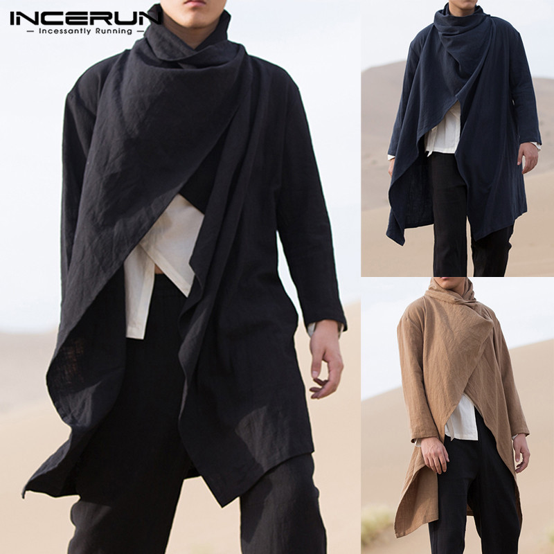 Retro Men Coats Long Sleeve Trench Cotton Scarf Collar Solid Punk Style Jackets Irregular Cloak Men Outerwear Streetwear INCERUN