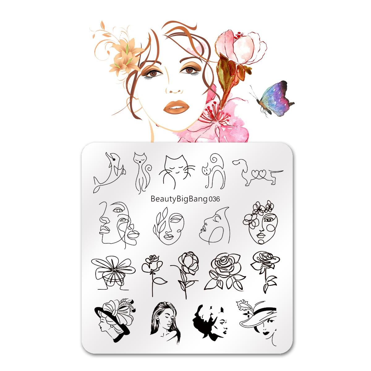 BEAUTYBIGBANG 6*6cm Square Flower Girl Animal Pattern Nail Stamping Plate Nail TemplateNail Art Stamp Image Template