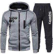 Chándal de dos piezas para Hombre, ropa deportiva, Sudadera con capucha, chaqueta y pantalón, chándal, 2020