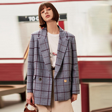 AEL tweed suit jacket women checked Woolen Blazer fashion loose Asymmetry Casual