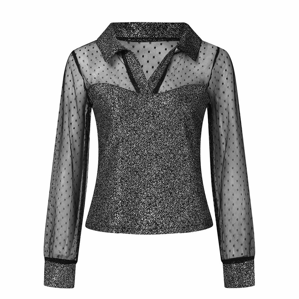 Womens Embroidery V Neck Arm Shaper Blouses Sheer Mesh Yoke Long Sleeve T Shirts Tops