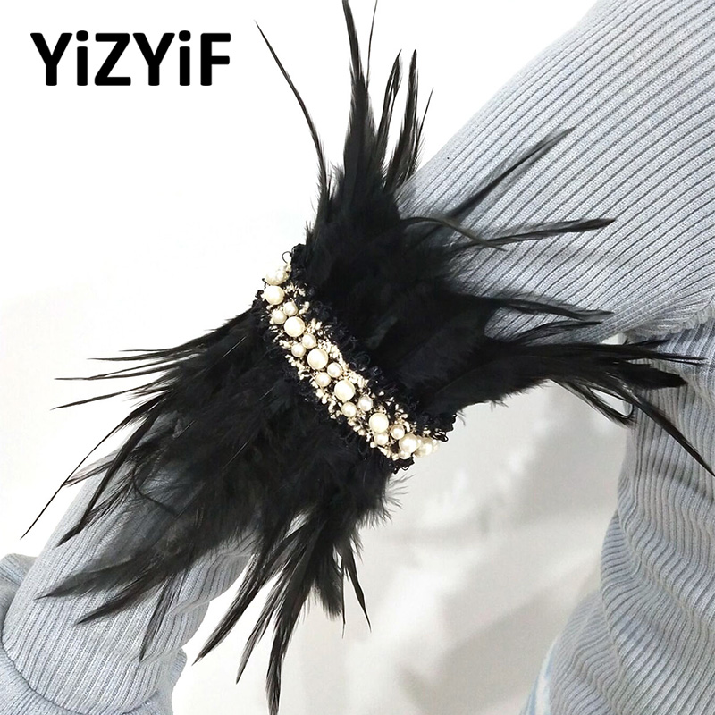 Feather Arm Wrap Collar Choker Neck Wrap Collar Victorian Natural Feather Faux Pearl Choker Neck Stage Performance Accessories
