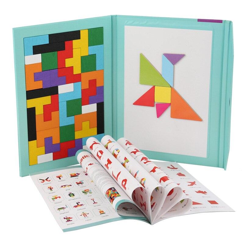 Rompecabezas Tangram magnético portátil juguetes educativos de madera coloridos para la inteligencia del bebé preescolar rompecabezas 3D