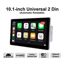 Radio con GPS para coche, Radio con Android 10, 2 din, pantalla IPS, 4GB RAM + 64GB ROM, 1280x720, compatible con 4G/Carplay inalámbrico/reproducción de vídeo universal