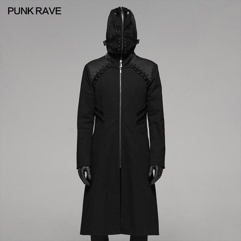 Панк рейв Мужчины стимпанк странное длинное пальто с капюшоном Хэллоуин костюм вампира Мужчины личности Длинный плащ с маской
