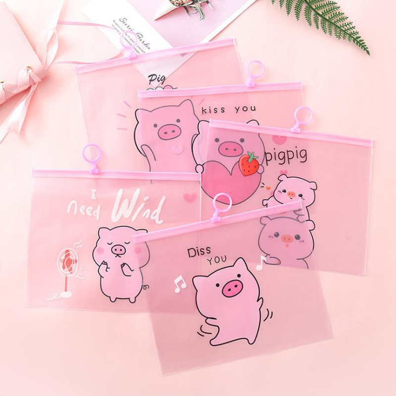 1 Pcs Cartoon Animal Pig Pink Transparent PVC Zipper Document Bags File Folder Pencil Bag Stationery Storage Organizer Gifts