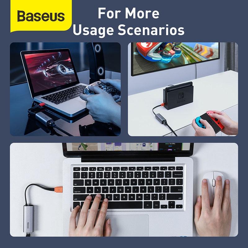 Baseus Ethernet Adapter USB Type C to RJ45 Network Card USB Converter Gigabit Lan Adapter For Notebook Macbook pro iPad Switch 3