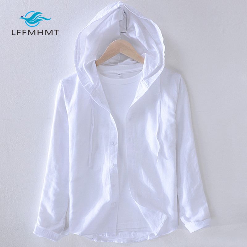 Men Spring And Autumn Fashion Brand Japan Style Striped Cotton Linen Hooded Shirt Male Casual Long Sleeve White Shirt Cloth
