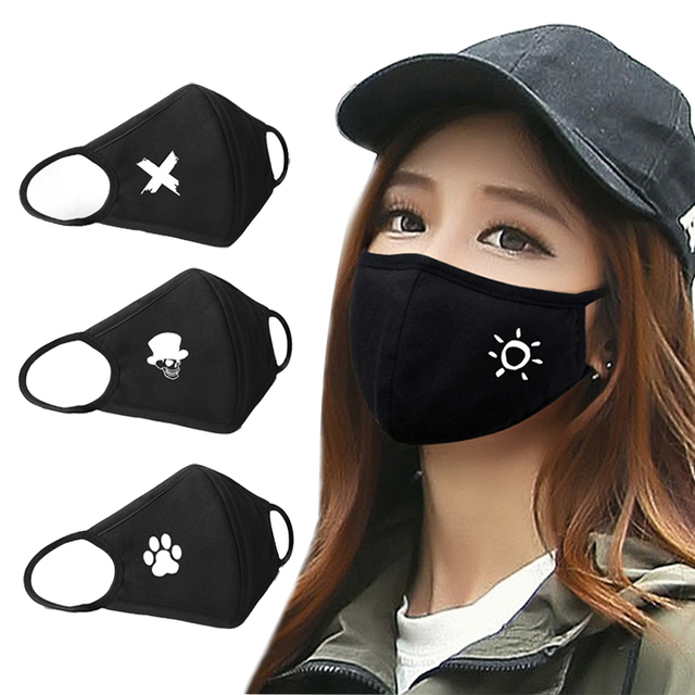 Washable Reuseable Black Kpop Mouth Mask Anime Cartoon Pattern Face Masks Cotton Fabric Masks For Adult