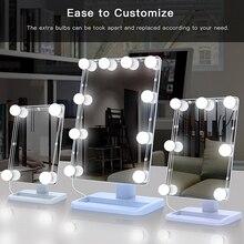 מראת איפור יהירות LED אור נורות ערכת, USB טעינת נמל קוסמטי מואר מרכיב מראות הנורה מתכוונן בהירות אורות
