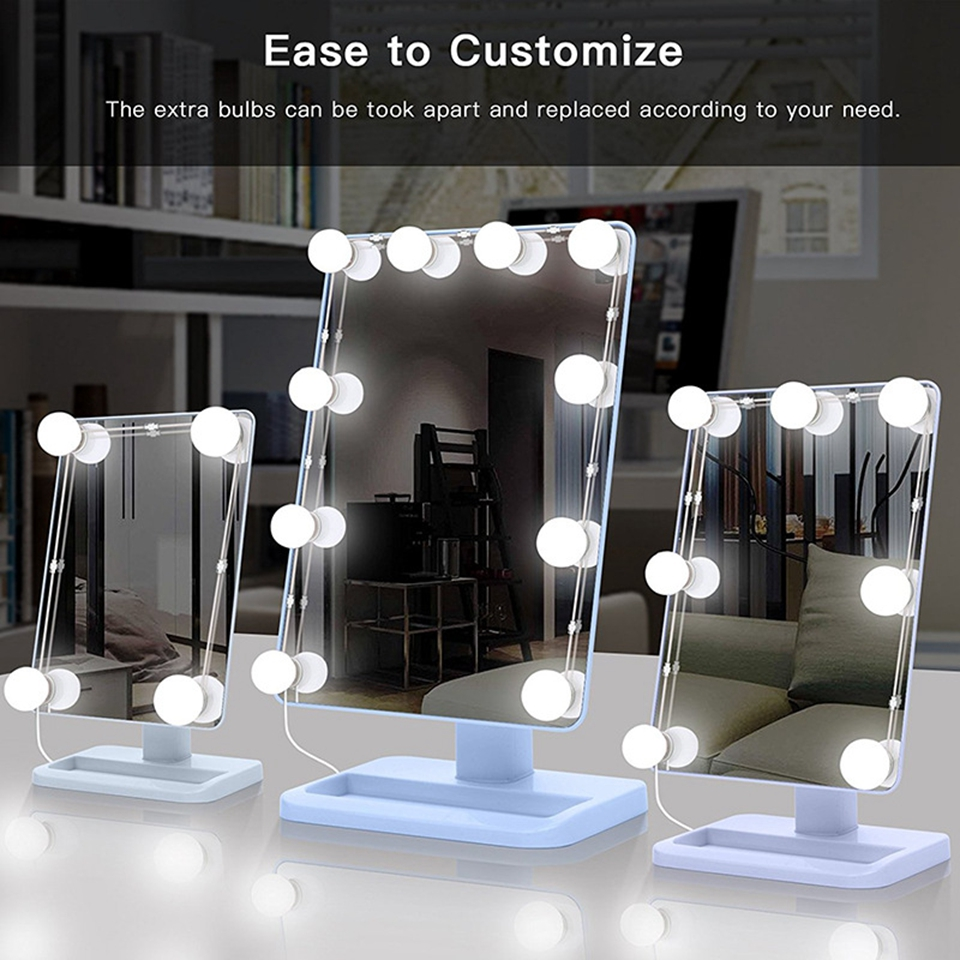 Makeup Mirror Vanity LED Light Bulbs Kit, USB Charging Port Cosmetic Lighted Make up Mirrors Bulb Adjustable Brightness lights