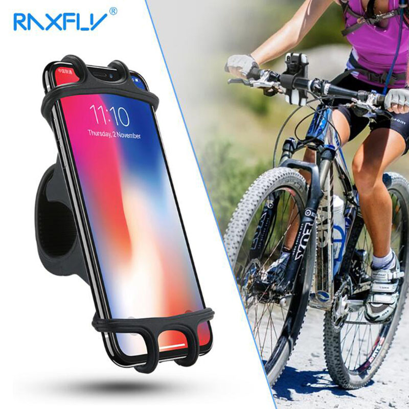 RAXFLY Bicycle Mobile Phone Silicone Bracket Bicycle Navigation Anti-Drop Mobile Phone Bracket For 4-6.5 Inch Soft Plastic