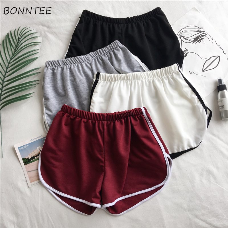 Shorts Women 2020 Summer New Elastic Waist Loose Wide Leg Simple Womens Leisure Sports Short Hot Student Chic Ladies Thin Trendy