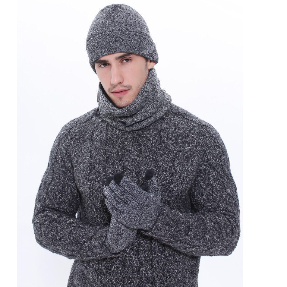 Manufacturers Direct Selling Men Knitted Hat Autumn And Winter Outdoor Plus Velvet Scarf Hat Gloves Three-piece Set Knitted Scar