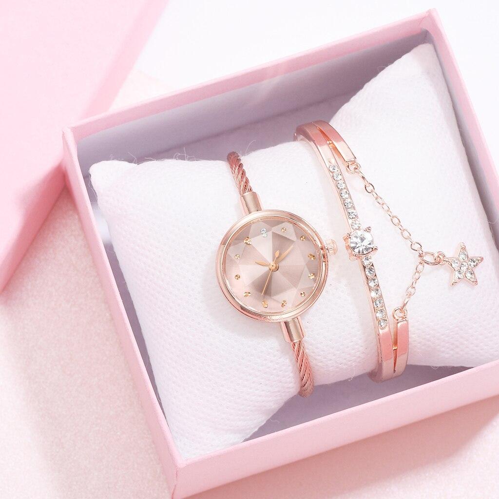 2pcs/Set Watch And Bracelete Women Diamond Geometric Glass Luxury Bracelet Set Watches Ladies Casual Quartz Wristwatch Clock