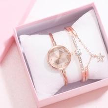 2pcs/Set Watch And Bracelete Women Diamond Geometric Glass Luxury Bracelet Set