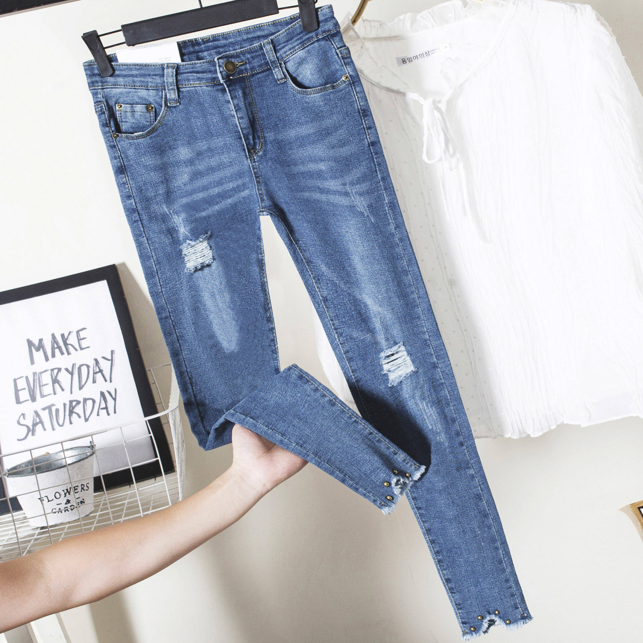 Spring Slim Women Jeans Female Denim Pants Black Stretch  Pencil Blue Skinny Pants For Women Pencil Jeans Trousers