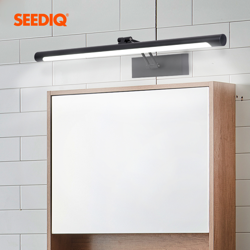 Led Wall Light Bathroom Black Silver 8W 40CM 12W 55CM AC 90-260V Waterproof Vanity Light Fixtures Wall Lamps For Living Room