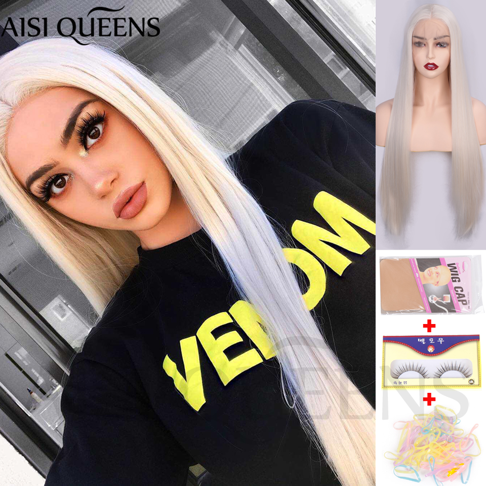 AISI QUEENS Synthetic Lace Front Wigs For Black Women Long Straight Lace Wigs Blonde White Hair Middle Parting Natural Hair