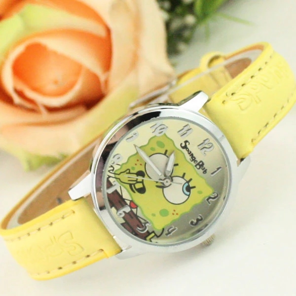 Fashion New Cartoon Yellow SpongeBob SquarePants Belt Watch Manufacturer Wholesale Children Quartz Watch