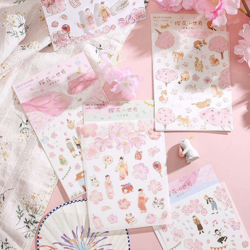 Sakura Early Spring Gilding Journal Decorative Stickers Adhesive Stickers DIY Decoration Diary Stationery Stickers Children Gift