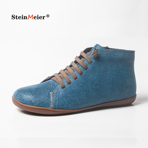Image 1 - Hommes hiver neige bottes en cuir véritable cheville printemps chaussures plates homme court marron bottes avec fourrure 2020 pour hommes à lacets bottes