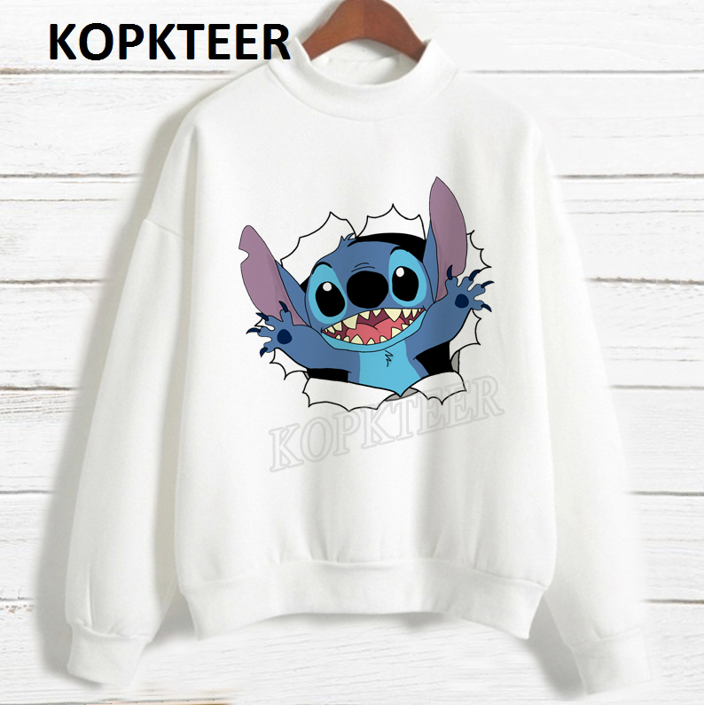 Women 2019 Fashion Hoodies Harajuku Long Sleeve Hoodie Sudadera Mujer Surprise Stitch Graphic Sweatshirt Cute Sweat Femme