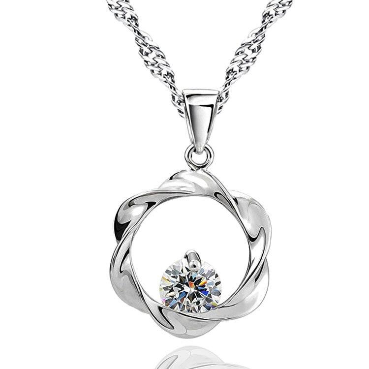 Plata esterlina 925 Collar Colgante de perlas de línea Trenzado Mujer Moda Joyería