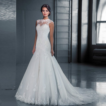 1PCS New Wedding Dress with High Neck Lace and Tail-tailed Fish Tail Wedding Dress