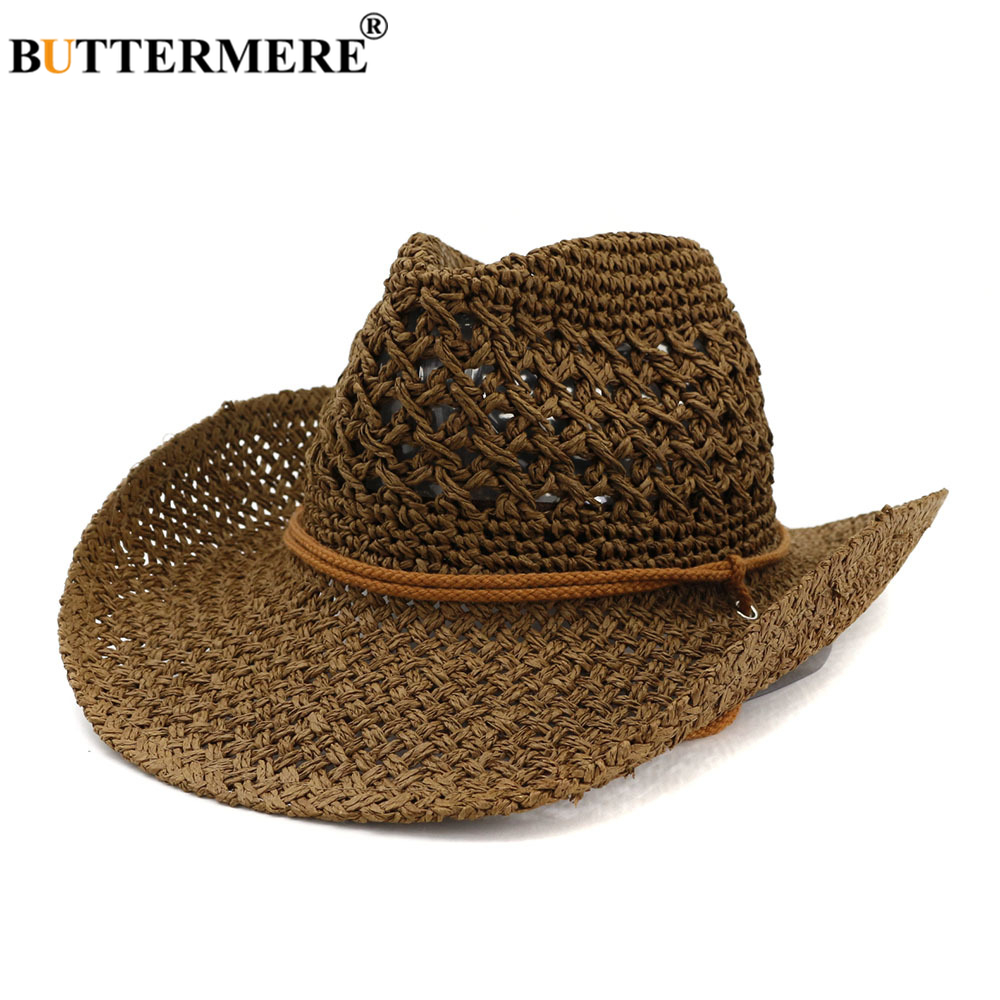BUTTERMERE Western Cowboy Hat Women Sun Hat Cowgirl Summer Hats for Men Hollow Out Lady Straw Hat Brown Beach Cap Panama