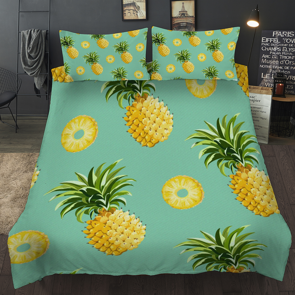 Pineapple Bedding set 3D Fruit Duvet Cover Pillowcases Twin Full Queen King Size bed linen 3pcs new in Bedding Sets from Home Garden
