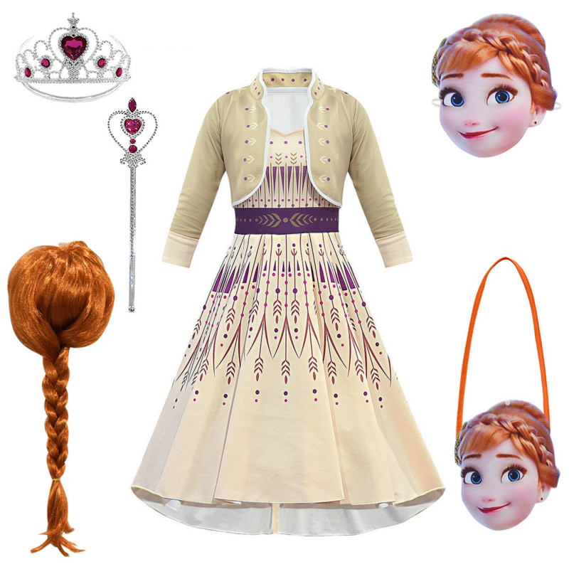 Frozen 2 Anna Costumes Cosplay For Girls Birthdays Party Princess Dress Vestidos Kids Dress Wig Mask Bag Clothing Suits C92K08
