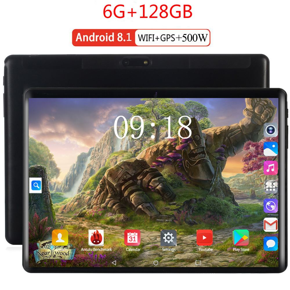 2020 2.5D Glass Screen 10 Inch Tablet  10 Core 6GB RAM 128GB ROM 5MP WIFI 4G FDD LTE Unlock 1920X1200 IPS GPS Android 8.0 Tablet
