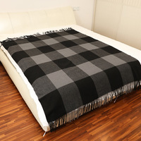 Autumn and winter 2020Inner Mongolia woollen comfortable Plaid home blanket with tassel super large shawl air conditioning shawl