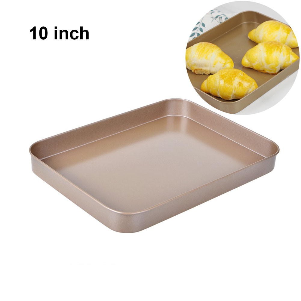 10inch Rectangle Toaster Oven Pan Tray Cake Bread Ovenware Plate Stainle Non-stick Baking Tool Set Carbon Steel Brownie Pan image