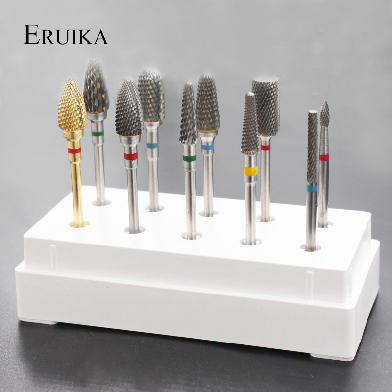 ERUIKA 10 Style Choice Tungsten Carbide Nail Drill Bit Machine Nail Cutter Nail File Manicure For Manicure Nail Art Accessories