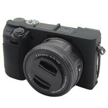 Câmera de borracha de silicone macio capa protetora do corpo 8 cores para sony alpha a6300 a6400 câmera sacos caso